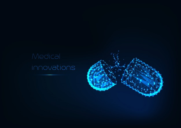 Светящиеся низкой многоугольной открытой капсулы лекарств с порошком наркотиков, изолированных на синем фоне. Premium векторы