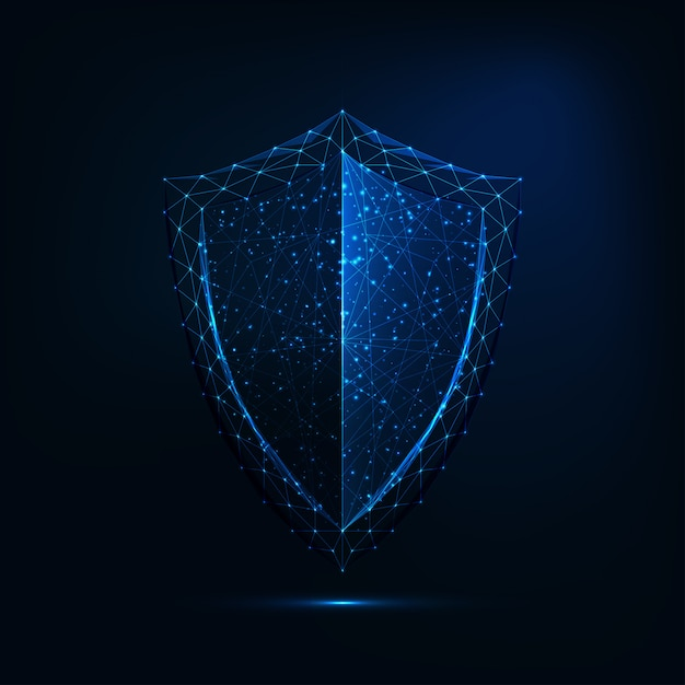 暗い青色の背景に分離された未来の輝く低多角形ガードシールドシンボル。 Premiumベクター
