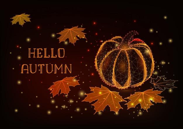 こんにちは、輝くカボチャ、カエデの葉、星と秋のグリーティングカードテンプレート。 Premiumベクター