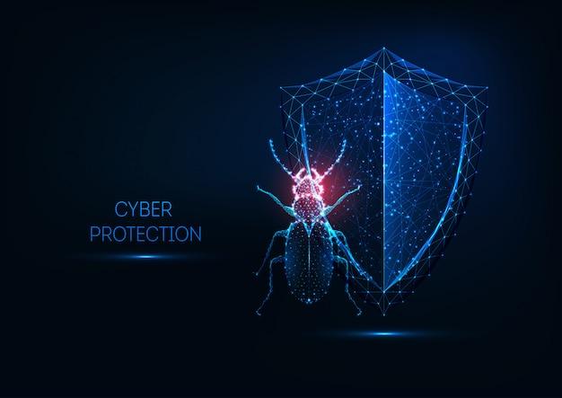 インターネットセキュリティ、未来的な輝く低ポリゴンバグとシールドのサイバー保護の概念。 Premiumベクター