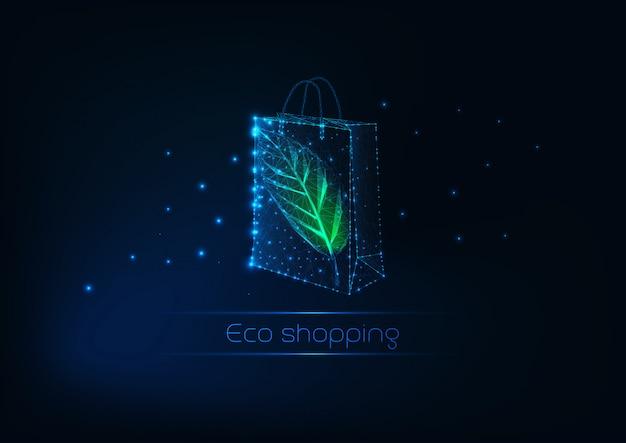 Футуристическая светящаяся низкая многоугольная бумажная хозяйственная сумка с зеленым листом. эко торговый шаблон. Premium векторы