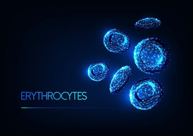 未来の輝く低多角形赤血球赤血球 Premiumベクター