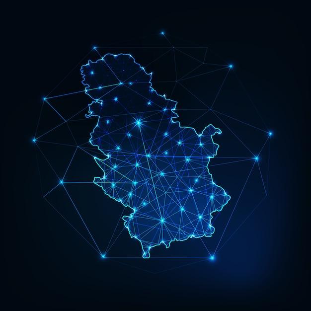 Контур карты сербии с рамками звезд и линий абстрактный. связь, концепция связи. Premium векторы