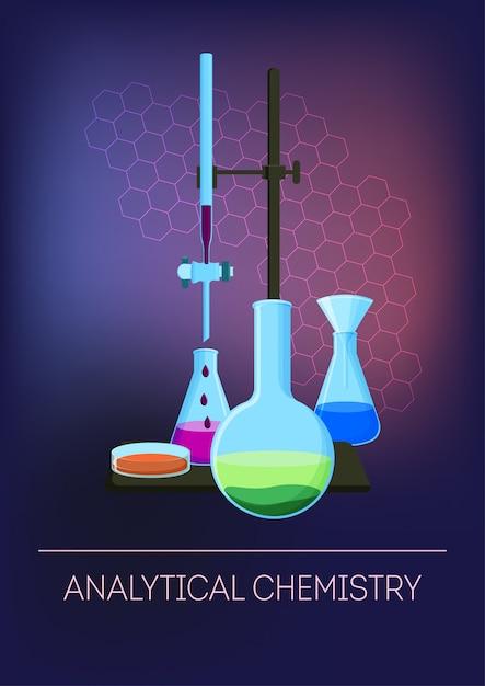 試薬を含む実験用ガラス器具を使用した分析化学。 Premiumベクター