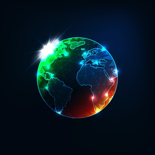 オレンジと緑の斑点を持つ未来的な輝く低多角形惑星地球地球地図 Premiumベクター