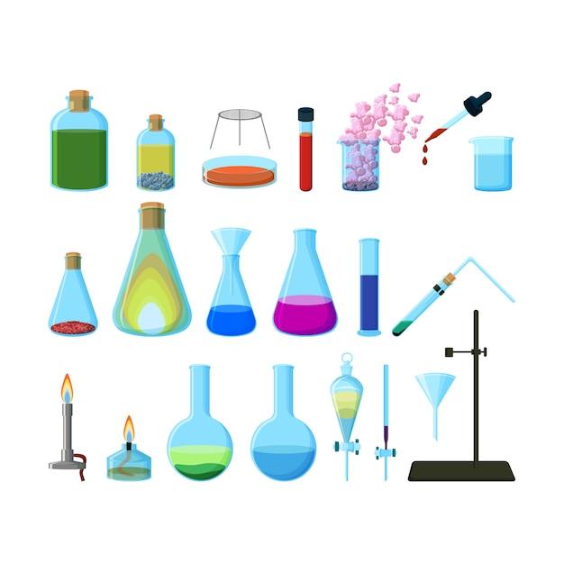 分離された明るいカラフルな化学実験用ガラス器具のセット Premiumベクター