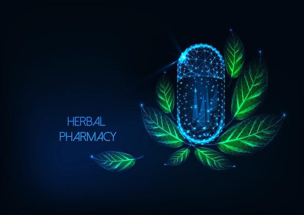 カプセルの丸薬と緑の葉を持つ未来の輝く低多角形薬局コンセプト。 Premiumベクター