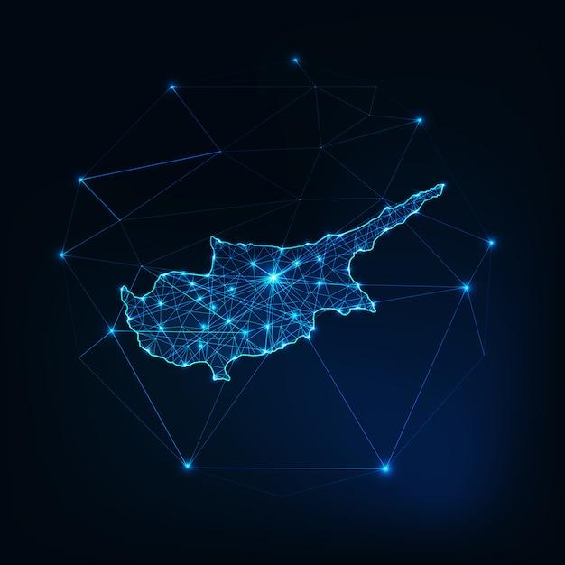 Контур карты кипра с рамками звезд и линий абстрактный. связь, концепция связи. Premium векторы