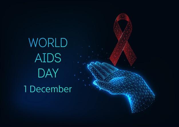 赤い光る低多角形リボン弓と手を握って世界エイズデーバナーテンプレート Premiumベクター
