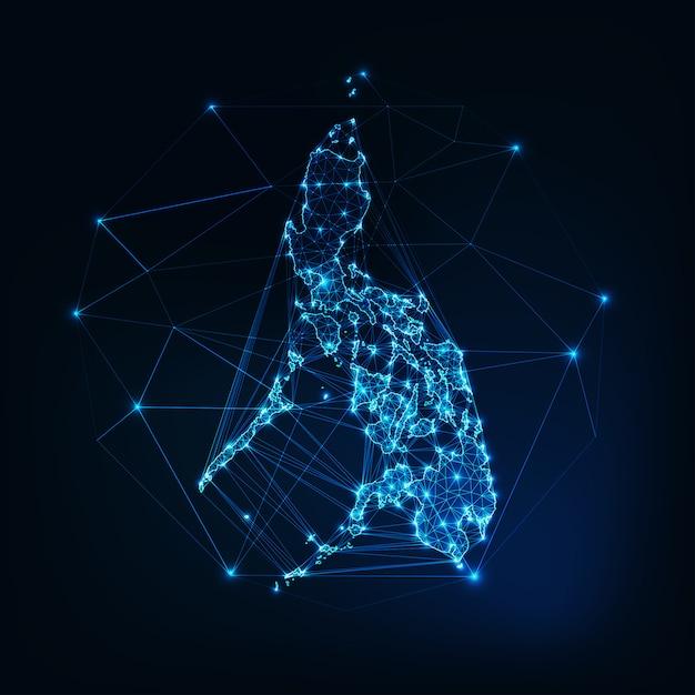フィリピン地図星ラインドット三角形で作られた輝くシルエットアウトライン Premiumベクター