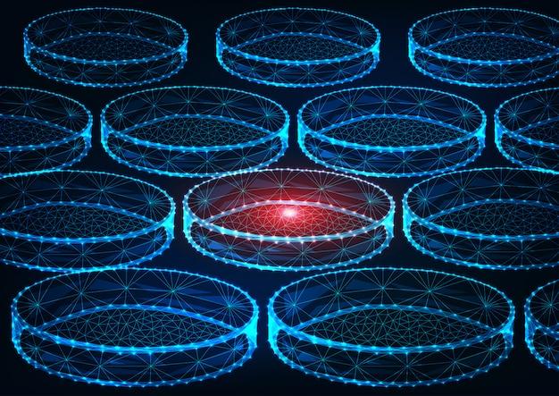 Концепция исследования футуристической медицины с светящиеся низкой многоугольной лабораторные чашки петри на синем фоне. Premium векторы