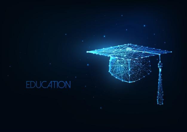 輝く低ポリゴン卒業帽子背景を持つ未来の教育コンセプト。 Premiumベクター