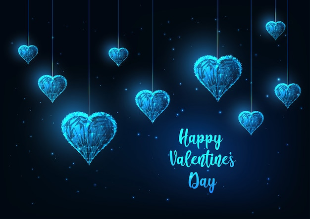 輝くぶら下がっている心を持つ未来の幸せなバレンタインの日グリーティングカード Premiumベクター