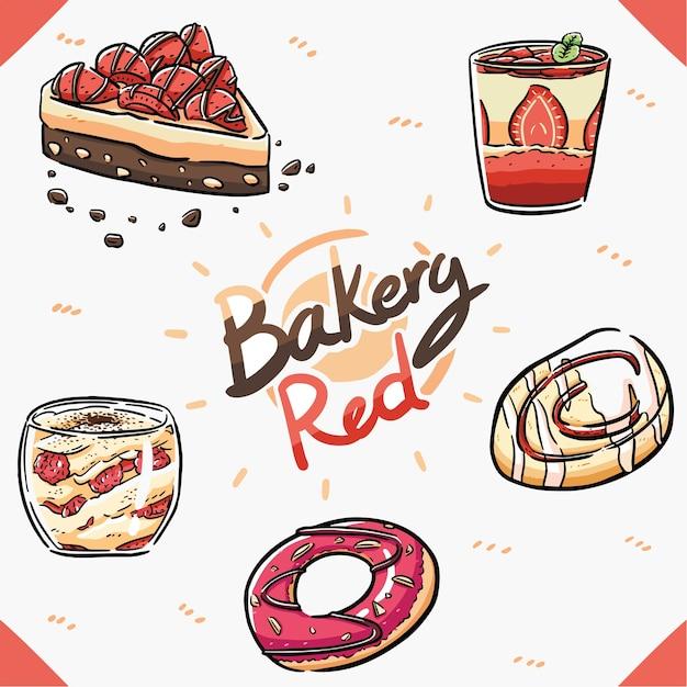 Элемент пекарня красный предмет Premium векторы