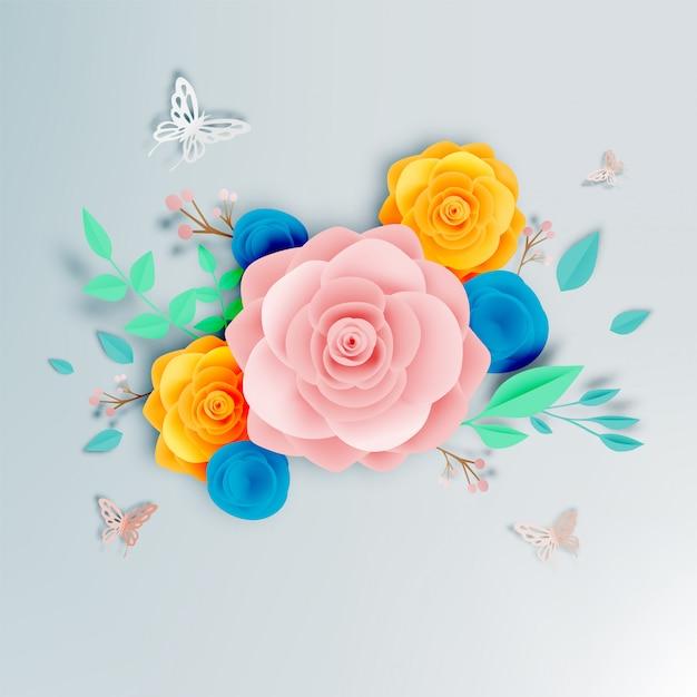 蝶のベクトルイラストと美しい花の紙の芸術 Premiumベクター