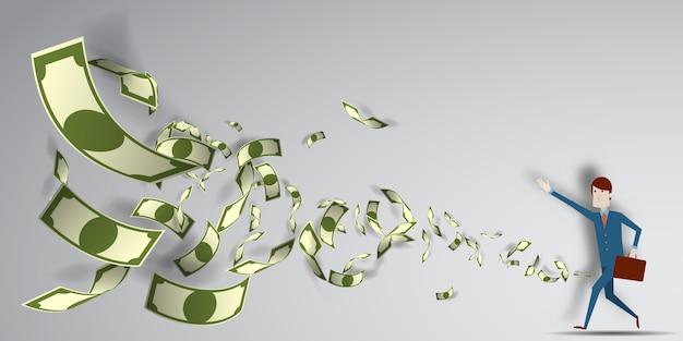 紙アート背景ベクトルイラストと空気中を飛んでそのお金のために達する人 Premiumベクター