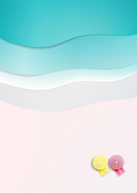 Шезлонги на пляже с фоном океана на лето в бумажном стиле арт векторная иллюстрация Premium векторы