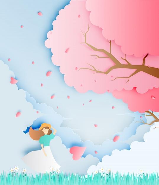 芝生フィールドペーパーアートスタイルベクトル図の桜の木で美しい少女 Premiumベクター