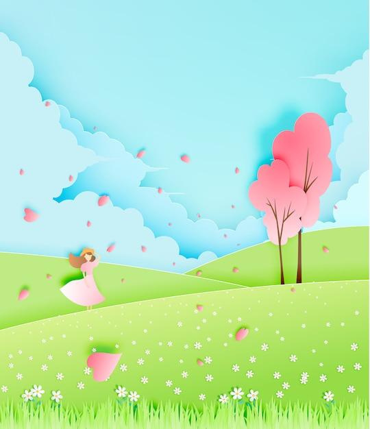 Красивая девушка с вишневым деревом в траве поля бумаги стиль векторная иллюстрация Premium векторы