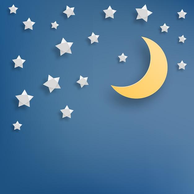 Звезда и луна бумаги стиль векторная иллюстрация Premium векторы