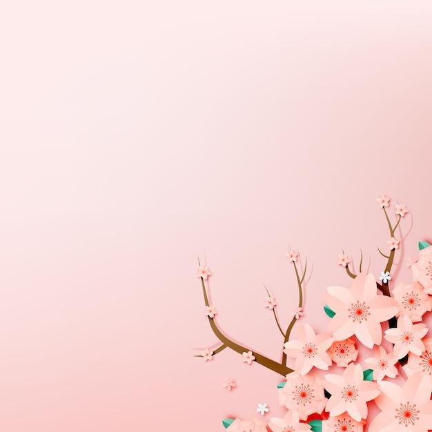 紙は花のグリーティングカードをカットしました。折り紙の花 Premiumベクター