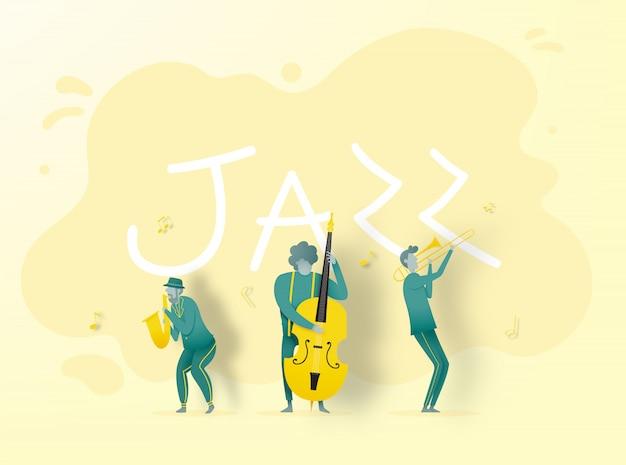 紙アートスタイルのバンドプレイジャズ音楽 Premiumベクター