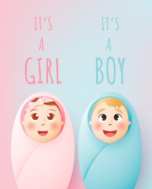 Это девушка, это мальчик. милый мальчик и девочка с пастельной схемой и бумага искусства векторная иллюстрация Premium векторы