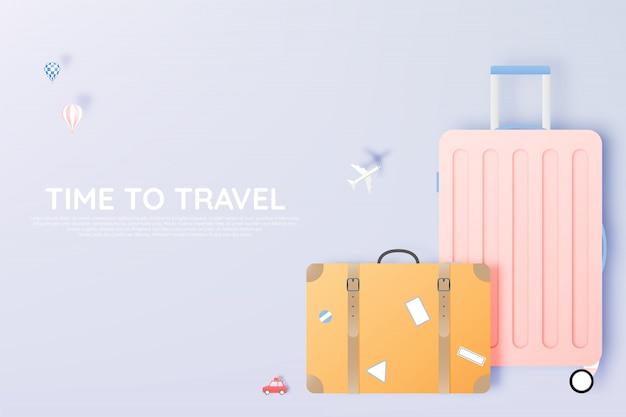 Разнообразная сумка и багаж для путешествий в стиле бумажного Premium векторы