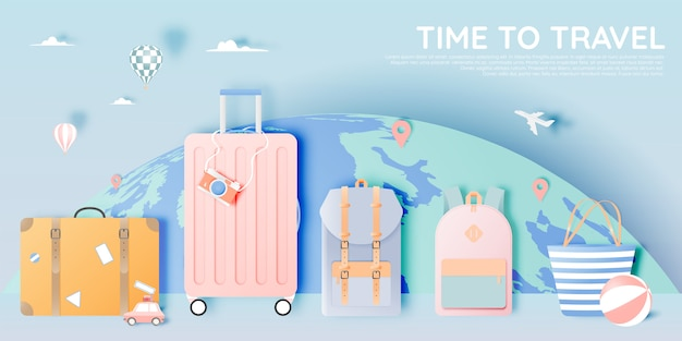 さまざまなアイテムをペーパーアートスタイルで旅行する Premiumベクター
