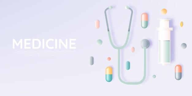 Шприц и лекарство в пастельных тонах Premium векторы