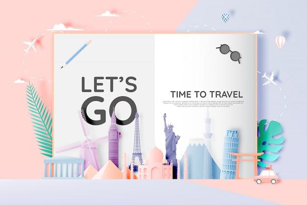 ペーパーアートスタイルのさまざまな旅行アトラクション Premiumベクター