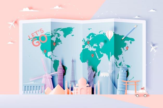 Различные туристические аттракционы в стиле бумажного искусства Premium векторы