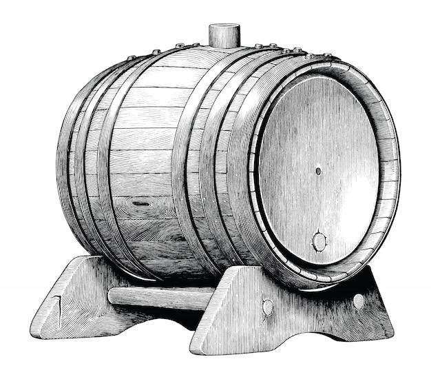 Античная иллюстрация гравировки дуба баррель рука рисунок черно-белые картинки изолированные, алкогольная ферментация дубовая бочка Premium векторы