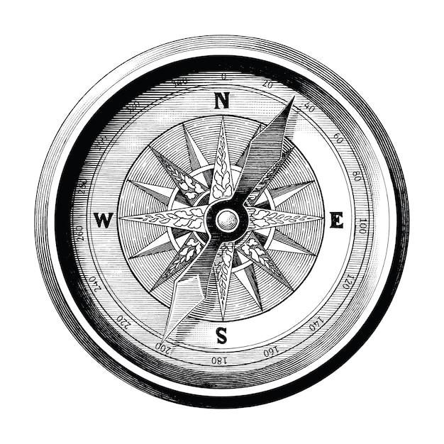 Античная иллюстрация гравировки винтажного изолированного искусства черно-белого зажима компаса, компаса перемещения и морского пути Premium векторы