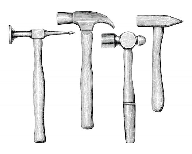 Молотки рука рисунок винтажном стиле изолировать на белом фоне Premium векторы