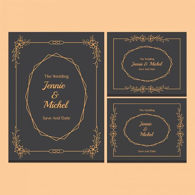 花の結婚式の招待状テンプレートコレクション Premiumベクター