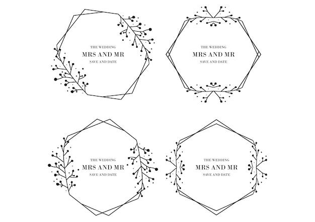 花の結婚式テンプレートコレクション Premiumベクター