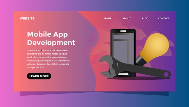 モバイルアプリ開発コンセプト。 Premiumベクター