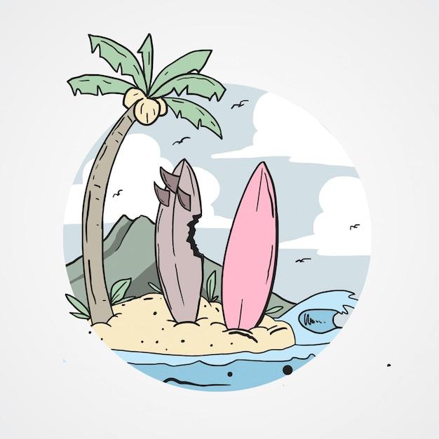 ビーチサーフィンボードココナッツの木 Premiumベクター
