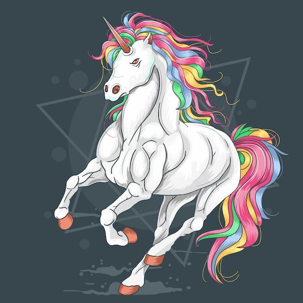 Единорог полный цвет радуги запустить вектор Premium векторы