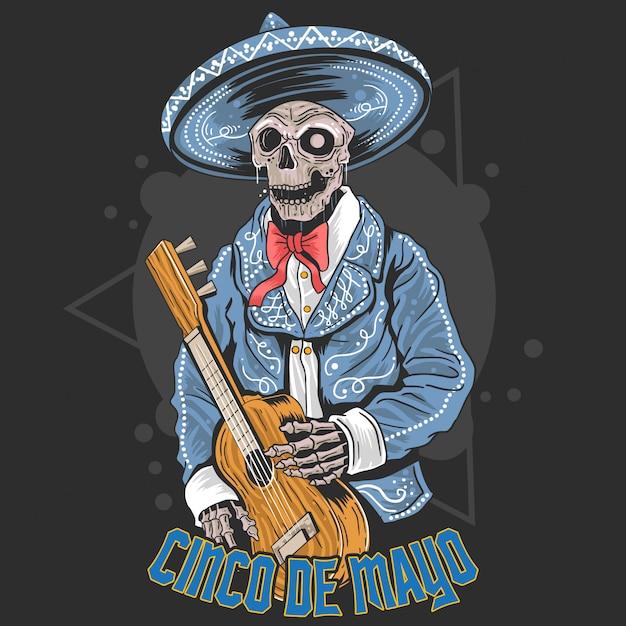 Череп гитары синко де майо Premium векторы