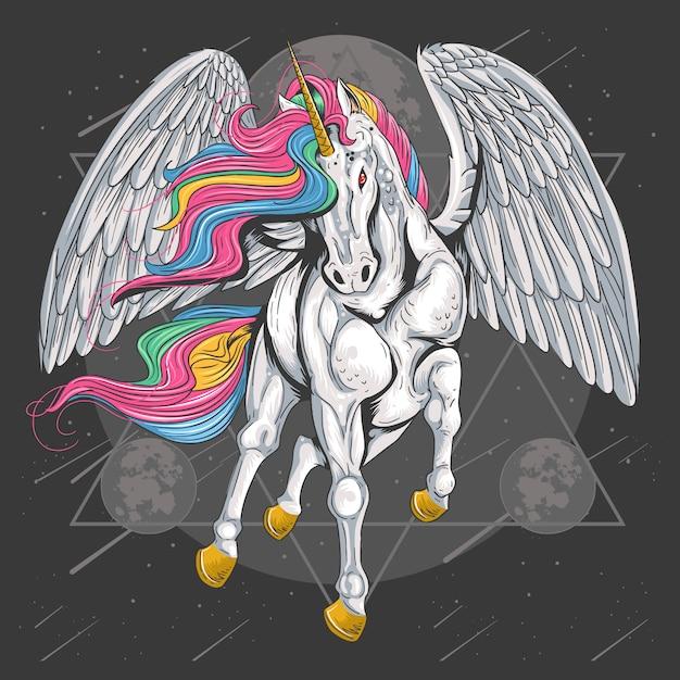 Полный цвет единой лошади с летами крылья на космической луне Premium векторы