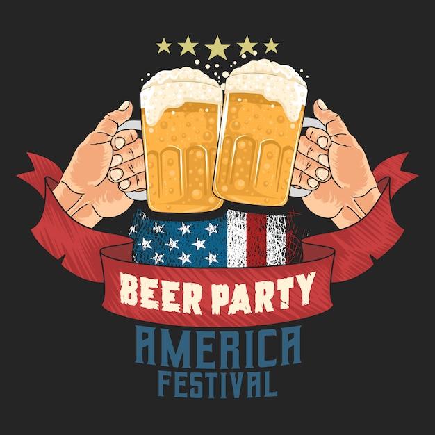 ビールパーティーオクトーバーフェストアートワーク Premiumベクター