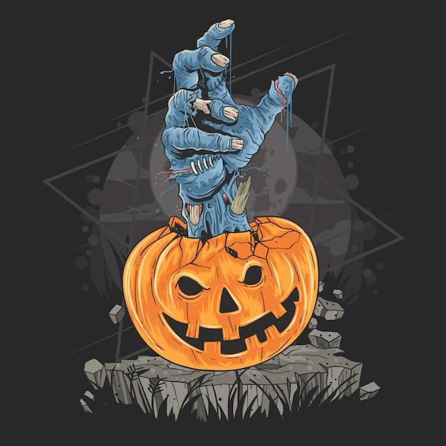 ハロウィン用のかぼちゃとゾンビの手アートワーク Premiumベクター