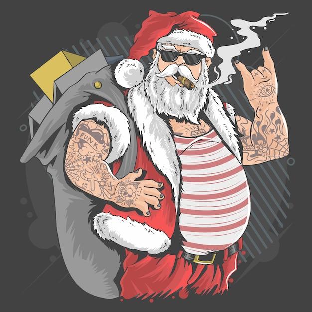 サンタクロースメリークリスマスタトゥーとタバコイラストベクトル Premiumベクター