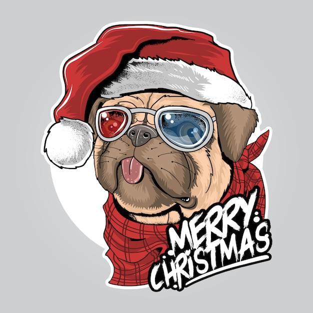 クリスマス帽子アートワークと犬の子犬パグサンタクロース Premiumベクター
