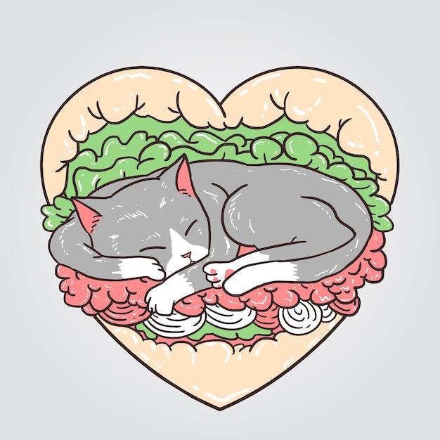 猫のハンバーガー Premiumベクター