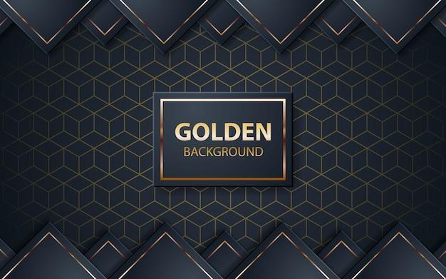 Роскошный черный фон с золотой росписью на черном квадрате Premium векторы