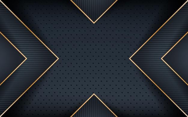 織り目加工の形をした暗いのリアルなゴールデンライン Premiumベクター