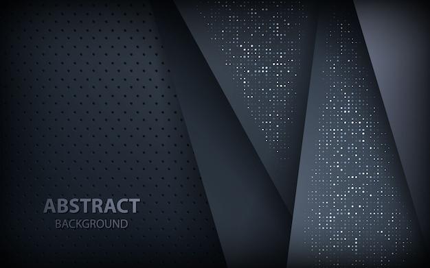 銀色の輝きを持つ暗い背景オーバーラップ層 Premiumベクター